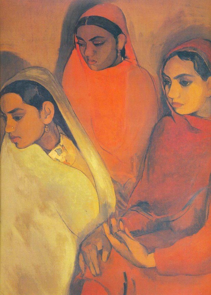 Amrita Sher-gil (1913-1941), Indian, Oil on Canvas, 66.5x92.8 cms, Three Girls, National Gallery of Modern Art, New Delhi. Amrita Sher Gil miała w muzeujm indywidualną wystawę czasową. Jej obrazy były świetne a przed chwilą z Wikipedii dowiedziałam się, że umarła w wieku 28 lat z powodu nieudanej aborcji i że tak naprawdę była pół Hinduską - pół Węgierką.