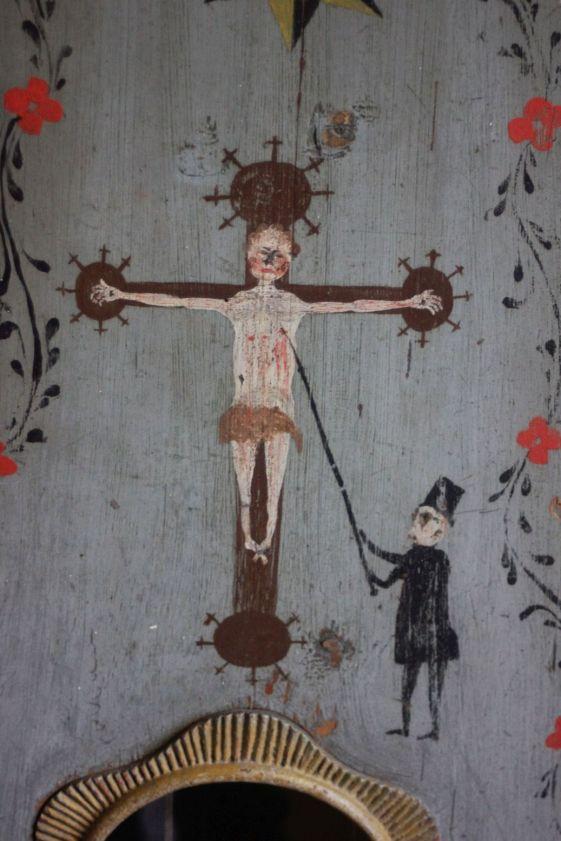ludowy jezus na krzyżu kominiarz rękodzieło stare meble szwedzkie