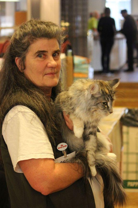 kot z właścicielką szary