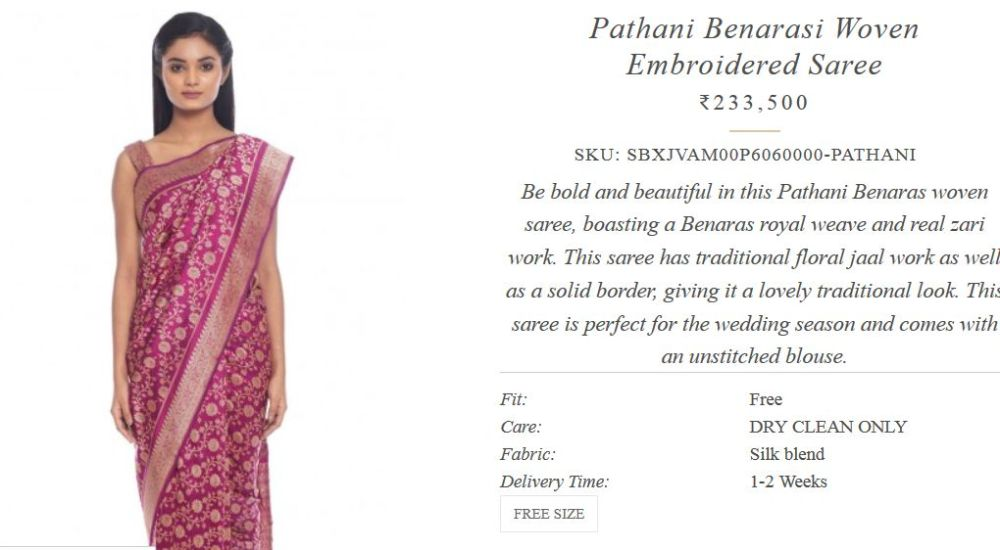 ritu kumar projektantka indie najdroższe sari cena