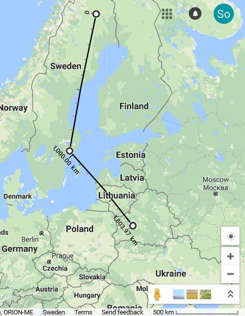 północ szwecji odległość sztokholm mińsk kiruna murmańsk petersburg
