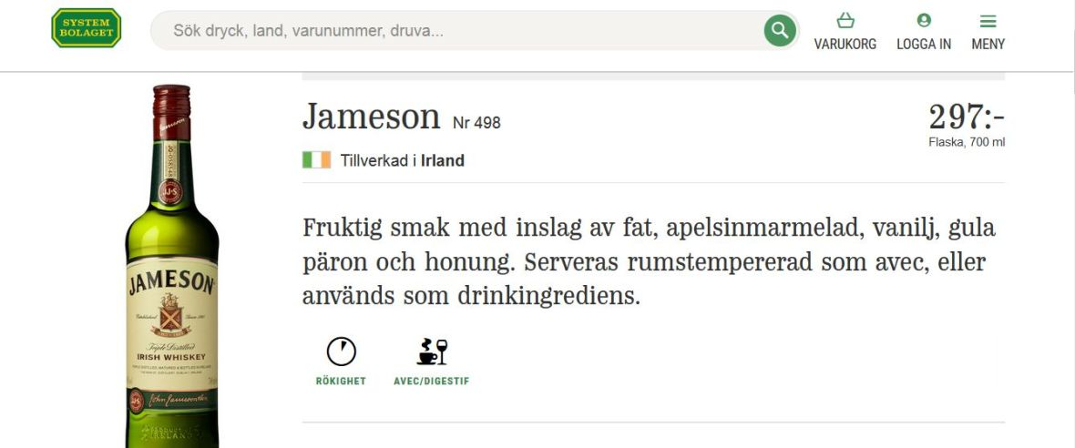ceny_w_systembolaget_szwecja_cena_jameson_whisky